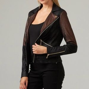 Black Pleather Motorcycle Jacket Gold Size Small